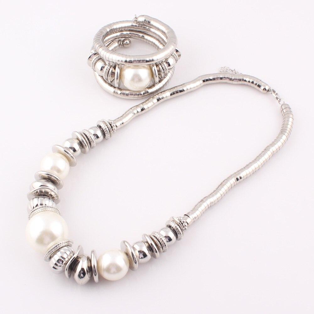 2017 mode kvinnor simulerade pärla orm halsband armband smycken - Märkessmycken - Foto 4