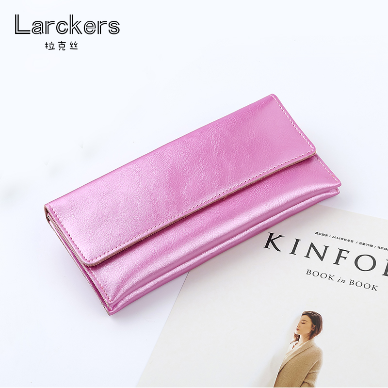 new fashion silvery clutch women genuine leather shining color female purse envelope hot sale long leather wallets ladies bag