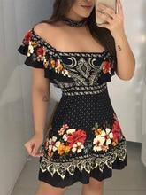 2019 Summer Women Elegant Fashion Vacation Casual Mini Dress Female Leisure Stylish Off Shoulder Floral Print Ruffles DressDresses