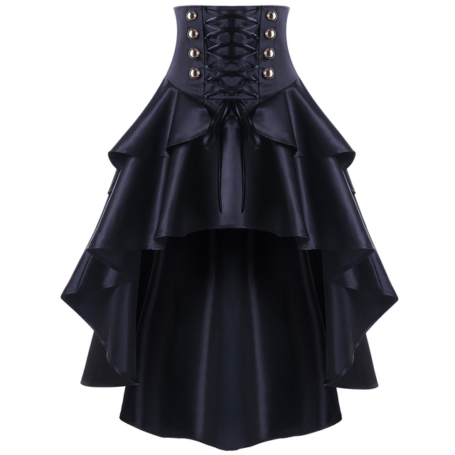 Kenancy women Gothic Style Button Punk Corset Party Skirts Lace Up Waist Ruffles Skirts Swing Irregular High Low Feminino Skirts