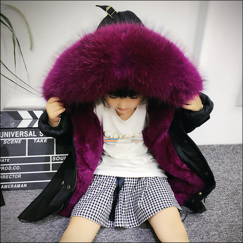Army Green Coat Fur Jacket Girls Winter Clothes Rabbit Fur Kids Parkas Real Raccoon Fur Hooded Children Jacket For Girls TZ90 цена