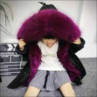 Army Green Coat Fur Jacket Girls Winter Clothes Rabbit Fur Kids Parkas Real Raccoon Fur Hooded Children Jacket For Girls TZ90