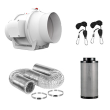 4 Inch Centrifugal Fans&Activated Carbon Air Filter Set For Led grow light Indoor Hydroponics Grow Tent Greenhouses 300mm carbon filter 6inch hydroponics with pulley rope ratchet hanger for indoor grow tent hydroponic