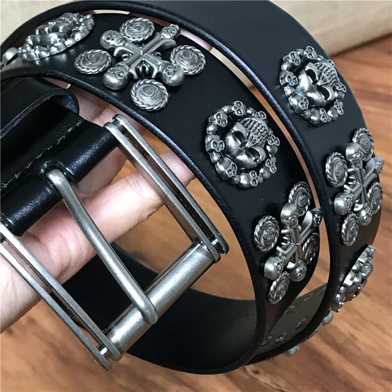Skull Belts For Men Heavy Metal Vintage Rivet Punk Men Belt Jeans Belts Men Leather Stud