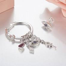 [MeiBaPJ]The big European and American 925 Silver Inlaid Micro Eye Asymmetric Earrings Fashion Personality Temperament all match