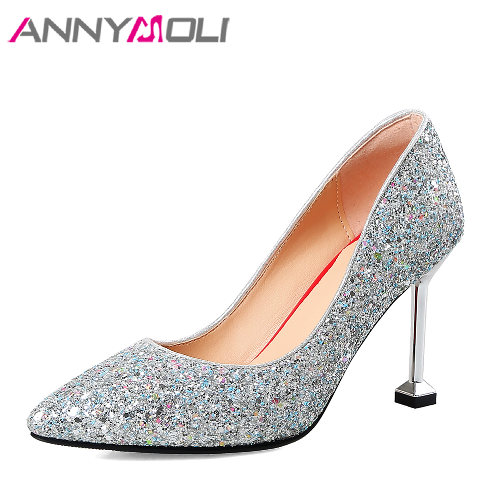ANNYMOLI Women Pumps High Heels Wedding Shoes Bridal Silver Bling Kitten Heel 2018 Fashion Shoes Pointed Toe Large Size 33-43 baoyafang bling womens wedding shoes high heels pumps women fashion shoes pointed toe ladies shallow sequined cloth female shoes