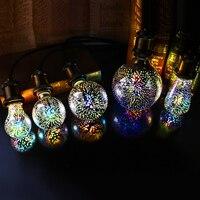 LED 3D Fireworks Light Bulb E27 4W G80 G95 G125 ST64 Polyhedron Vintage Edison Bulb Bar