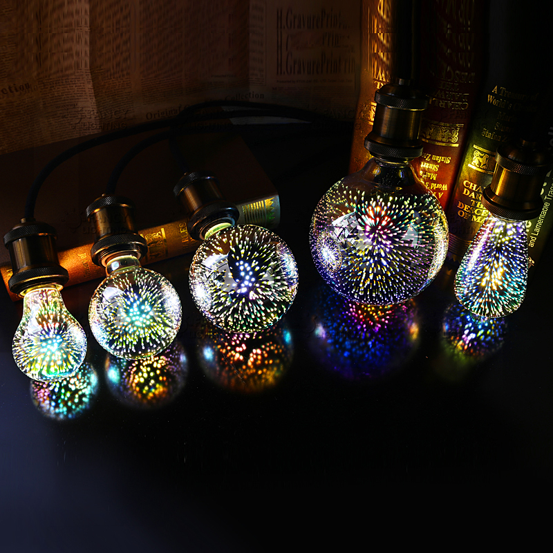 LED 3D Fireworks Light Bulb E27 4W G80 G95 G125 ST64 Polyhedron Vintage Edison Bulb Bar Decor Lighting Lampada 420LM AC85-265V