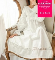 Pure Royal Memory Pure Cotton Nightgown Princess Long Sleeve Nightdress Ladies Sleepwear White Women's Nightwear AW313