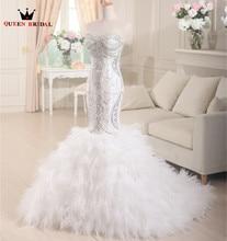 Ny ankomst tulle puffy kjol sjöjungfrun bröllopsklänning 2015 pärlstav pärlor brudklänning brudklänningar brud QUEEN BRIDAL XD46