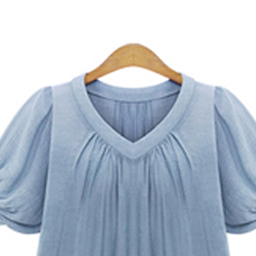 Women Shirt Blouse Big Large Size Plus Size 5XL 2017 Summer Casual Women Blouses Short Sleeves Pleat Chiffon Female Tops T7N010A 4
