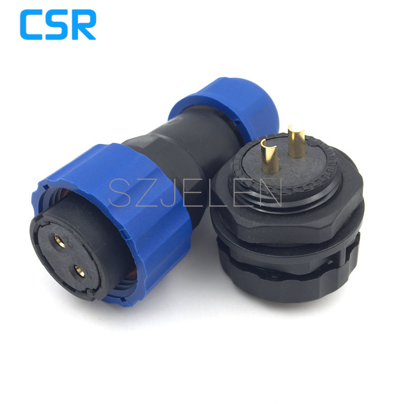 SD20TP-ZM, 2 pin waterproof connector Plug (female) and socket (male) ,IP68, Rated current 25A, install the cable 6.5-12mm, 20mm