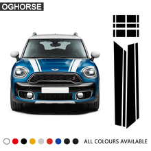 Hood Trunk Bonnet Engine Rear Body Stripe Vinyl Decal Stickers for BMW Mini Cooper S Countryman F60 2017 Accessories Car Styling car styling side racing stripes hood rear engine cover trunk vinyl decal sticker for bmw mini cooper countryman r60 2013 2016