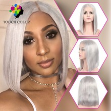 Touch Color Hair Short Cut Bob 13x4 Lace Front Wigs Human Pre Plucked Grey Straight Colored Silk Base