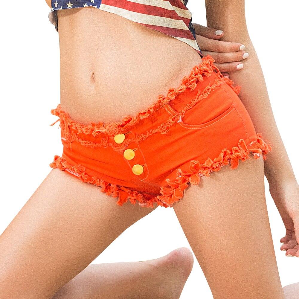 2018 Hot Sexy Button Denim Shorts Women Summer Shorts Jeans Low Waist Hole Jeans Orange White Black