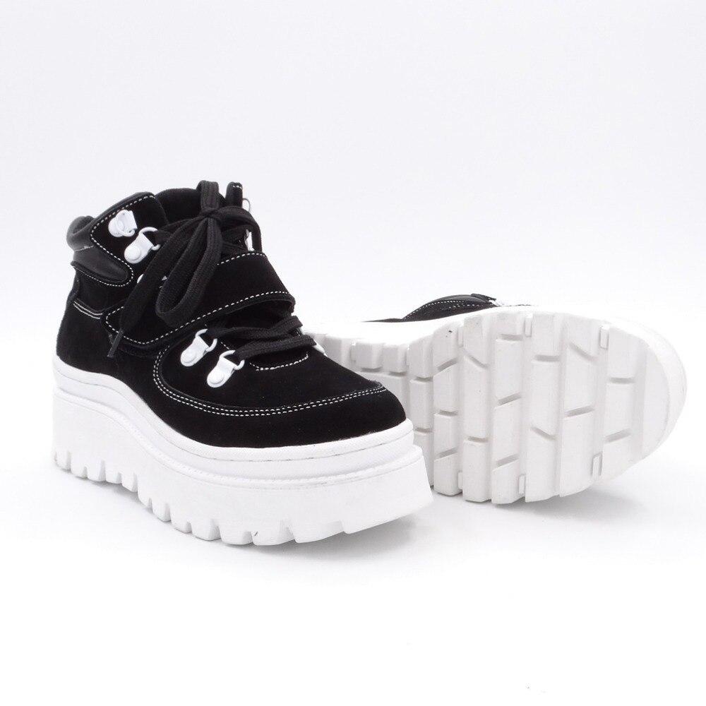 Tornozelo botas femininas 2020 inverno camurça tornozelo boot feminino rendas até apartamentos plataforma confortável punk boot preto sapatos marrons - 5
