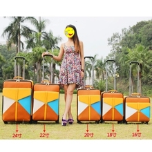 Travel bag trolley luggage wheels female universal colorant match 16 18 20 22 24 luggage box sets,women travel luggage sets