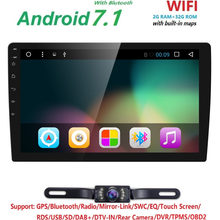 10.1 QuadCore 2 Din Android7.1 dvd automotivo para carro Fit Universal Car Radio Audio Stereo GPS WiFi SWC DVR BT DTV DAB OBD2(China)