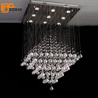 Hot Sales Popular Design Modern Square Crystal Chandeliers Living Room Light L60 W60 H80cm