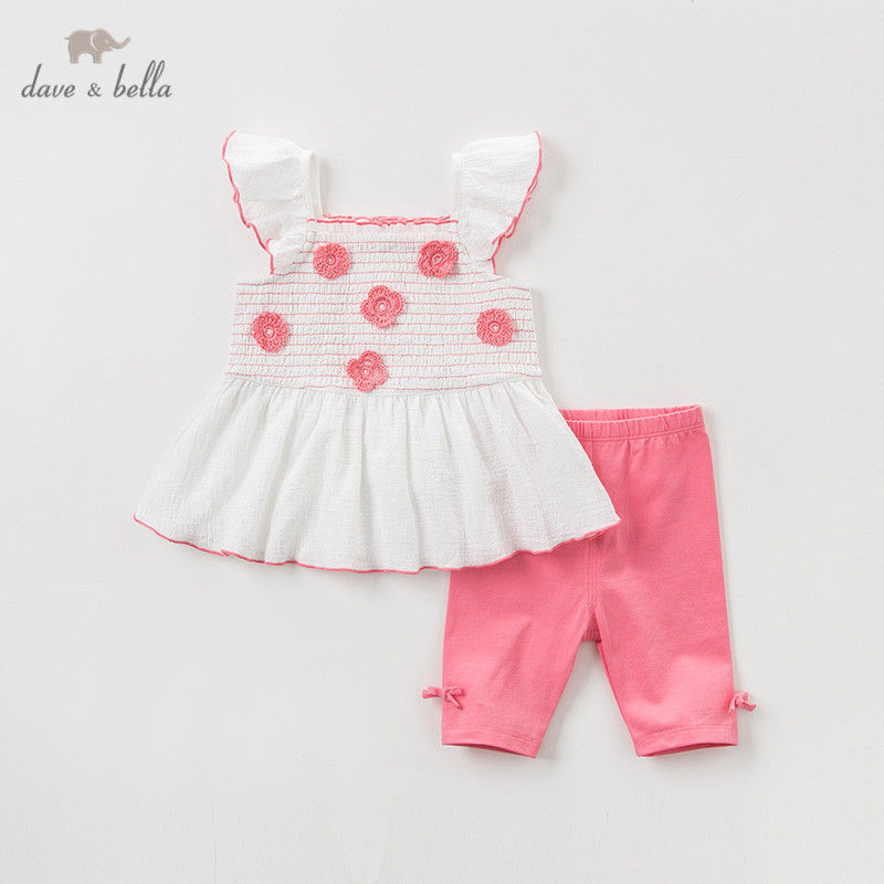 DBA9381 Dave bella summer baby girl clothing sets cute floral children suits  infant high quality clothes girls pullover outfit DBA9381 Dave bella summer baby girl clothing sets cute floral children suits  infant high quality clothes girls pullover outfit