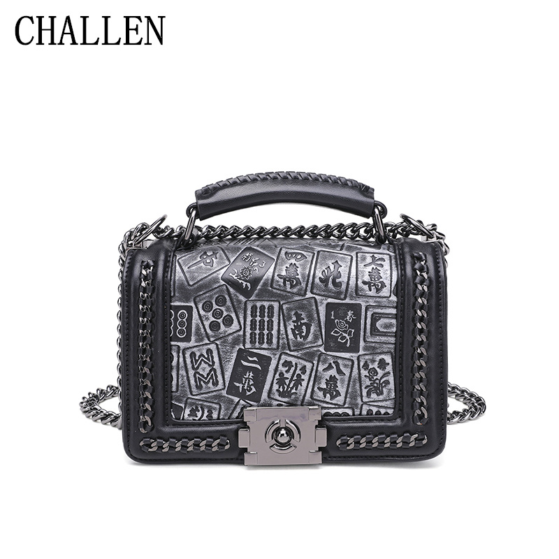 Lingge chain bag female 2018 luxury handbags women bags designer version of the new fashion wild mahjong print diagonal package qiaobao 2018 new korean version of the first layer of women s leather packet messenger bag female shoulder diagonal cross bag