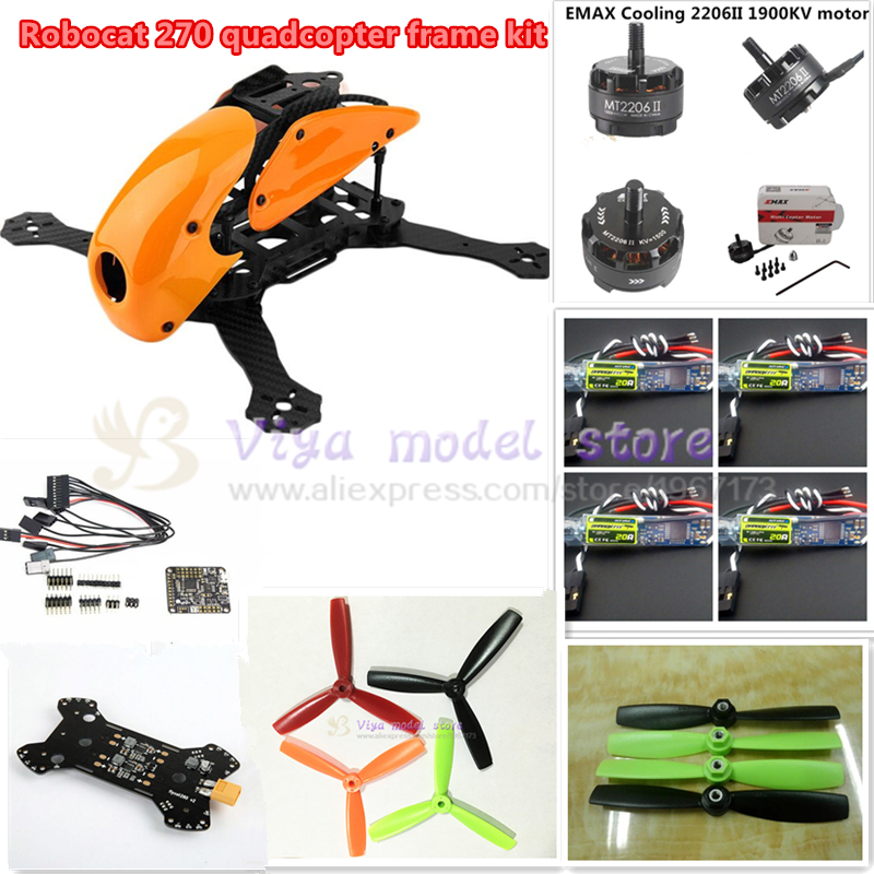DIY FPV race Robocat 270 V2 mini drone carbon Fiber frame kit NAZE32 REV6 10DOF+EMAX MT2206 II 1900KV+BL20A ESC oneshot125 diy mini fpv 250 racing quadcopter carbon fiber frame run with 4s kit cc3d emax mt2204 ii 2300kv dragonfly 12a esc opto