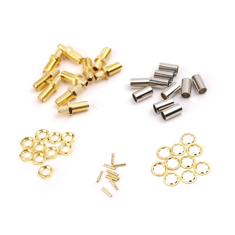 2019 New 10pcs SMA Female Nut Bulkhead Crimp RF Connector For RG58 RG142 LMR195 RG400