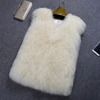 Casual Real Sheep Fur Vest Women Sleeveless Mongolia Coat Autumn Winter Jackets With Pocket Elegant Natural Fur Waistcoats Vests