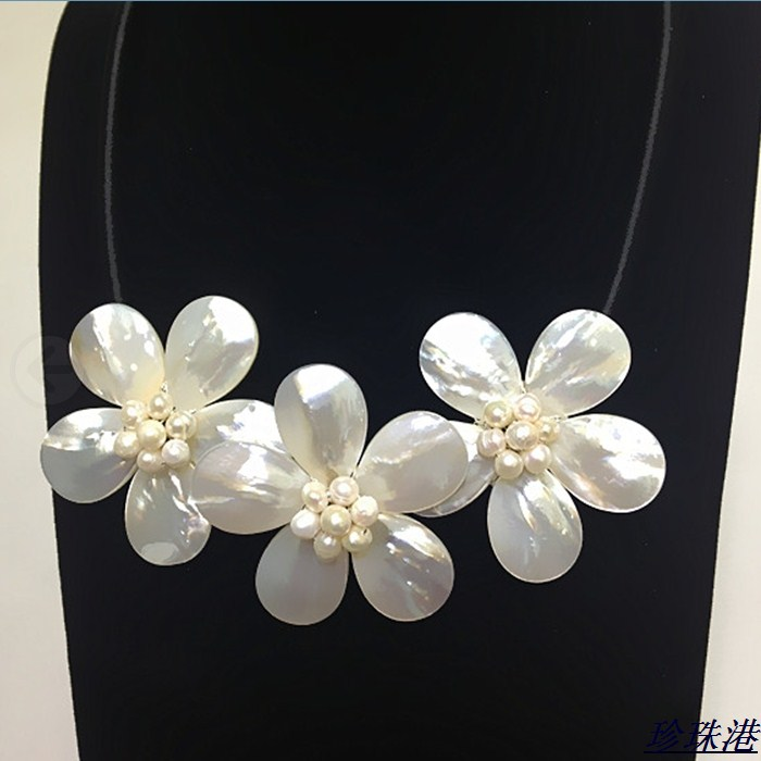 Natural shell sea shell freshwater pearl necklace long necklace hand woven Flower genuine mail diy real Natural shell sea shell freshwater pearl necklace long necklace hand woven Flower genuine mail diy real
