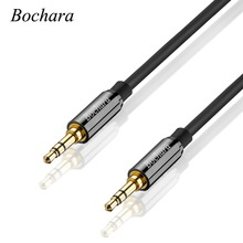 Bochara Gold Plated 3 5mm Audio font b Cable b font Male to Male Shielded For