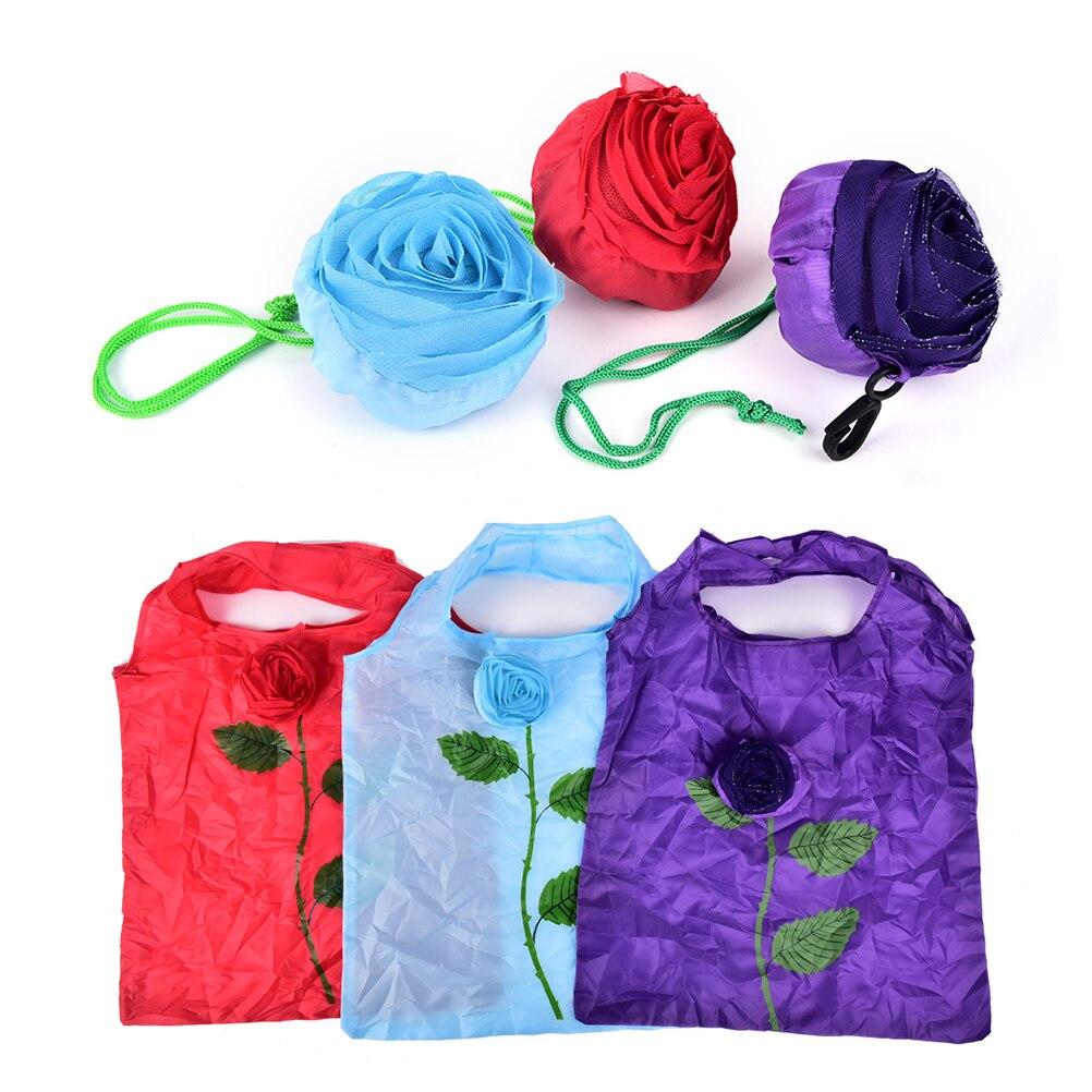 1 StÜcke Eco Fashion Rose Blumen Falten Lagerung Taschen Zufällige Farbe Wiederverwendbare Einkaufstasche