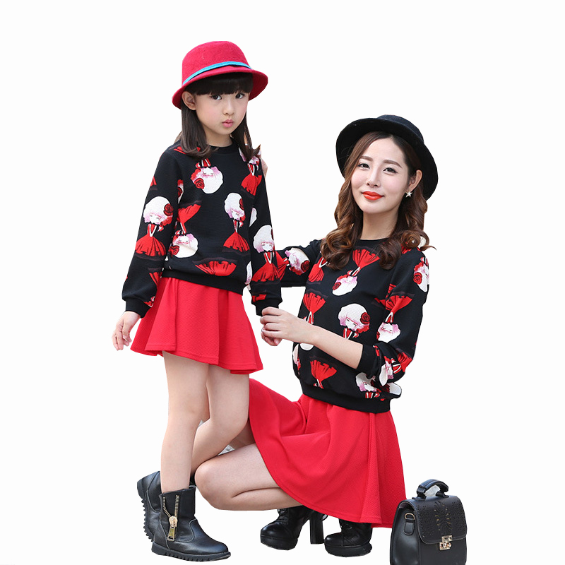 New Korean Style Mother Daughter Dresses Character Pattern Long Sleeve T-shirt + Skirt Two-piece Spring and Autumn Casual Sets