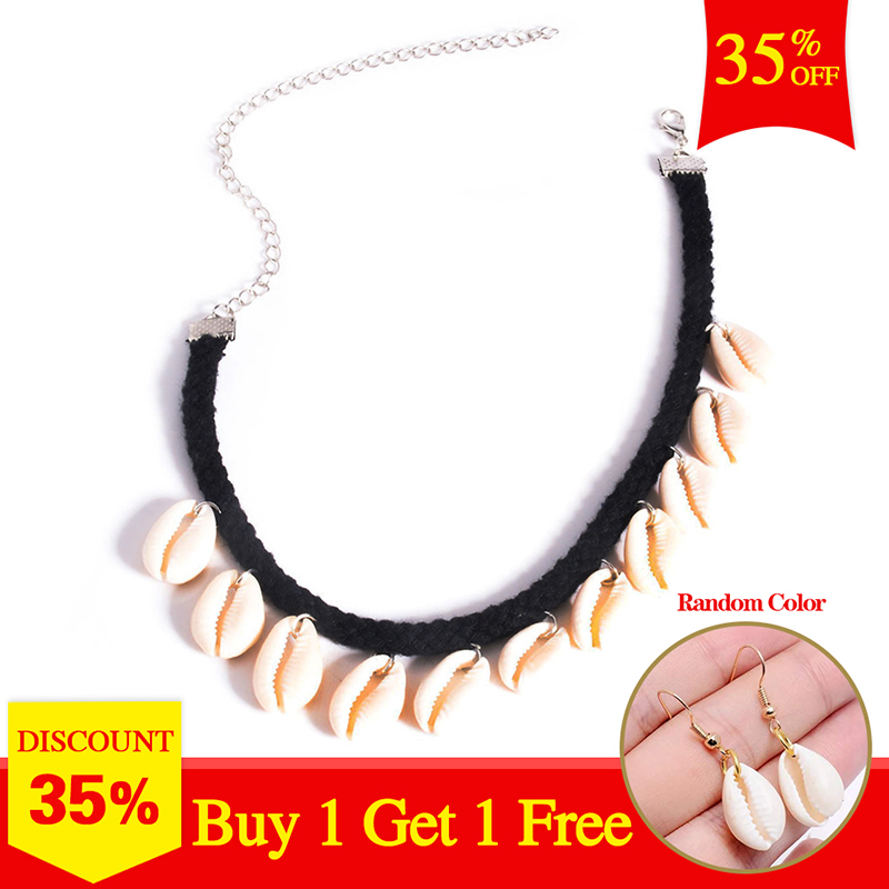 Komi Cowrie Shell Choker Necklace Bohemian Collar Gypsy Boho Beach Festival Women Jewelry BUY TWO GET ONE GIFT O-196