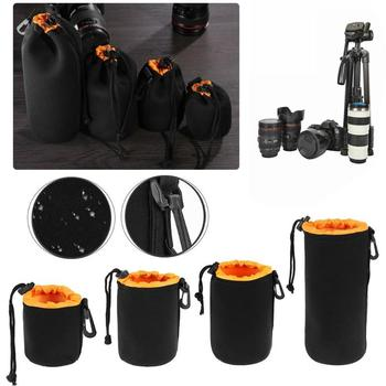 1Pcs Camera Lens Pouch Bag Neoprene Waterproof Soft Video Camera Lens Pouch Bag Case Full Size S M L XL Camera Lens Protector