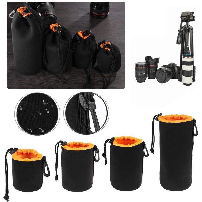 1 Uds bolsa de la Lente de la Cámara bolsa de neopreno impermeable suave de la Lente de la cámara de vídeo bolsa de la caja de tamaño completo S M L Cámara XL Protector de la lente