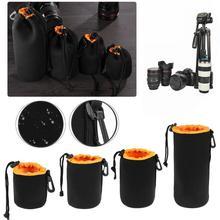 1 adet kamera Lens kılıf çanta neopren su geçirmez yumuşak Video kamera lensi kılıf çanta tam boyut S M L XL kamera lens koruyucu
