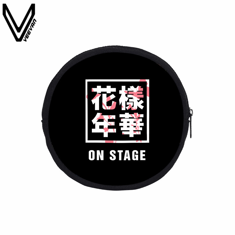 VEEVANV Circular Coin Purse BTS Letter Prints Key Accessories Bags Girls Canvas Small Purse Women Wallets SUGA JIMIN V JUNG KOOK