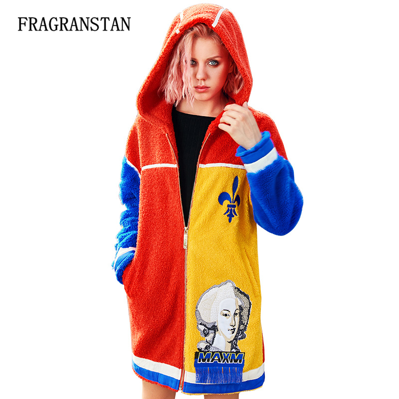 Lady Autumn Winter Fashion Embroidery Flocking Trench Coat Patch Designs Spliced Vestidos Women Thick Warm Hooded