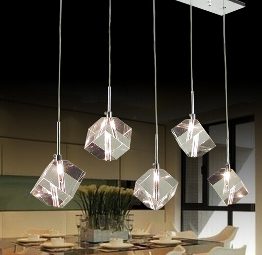 New Modern Cubic Crystal Cube Light Pendant Lamp Fixture