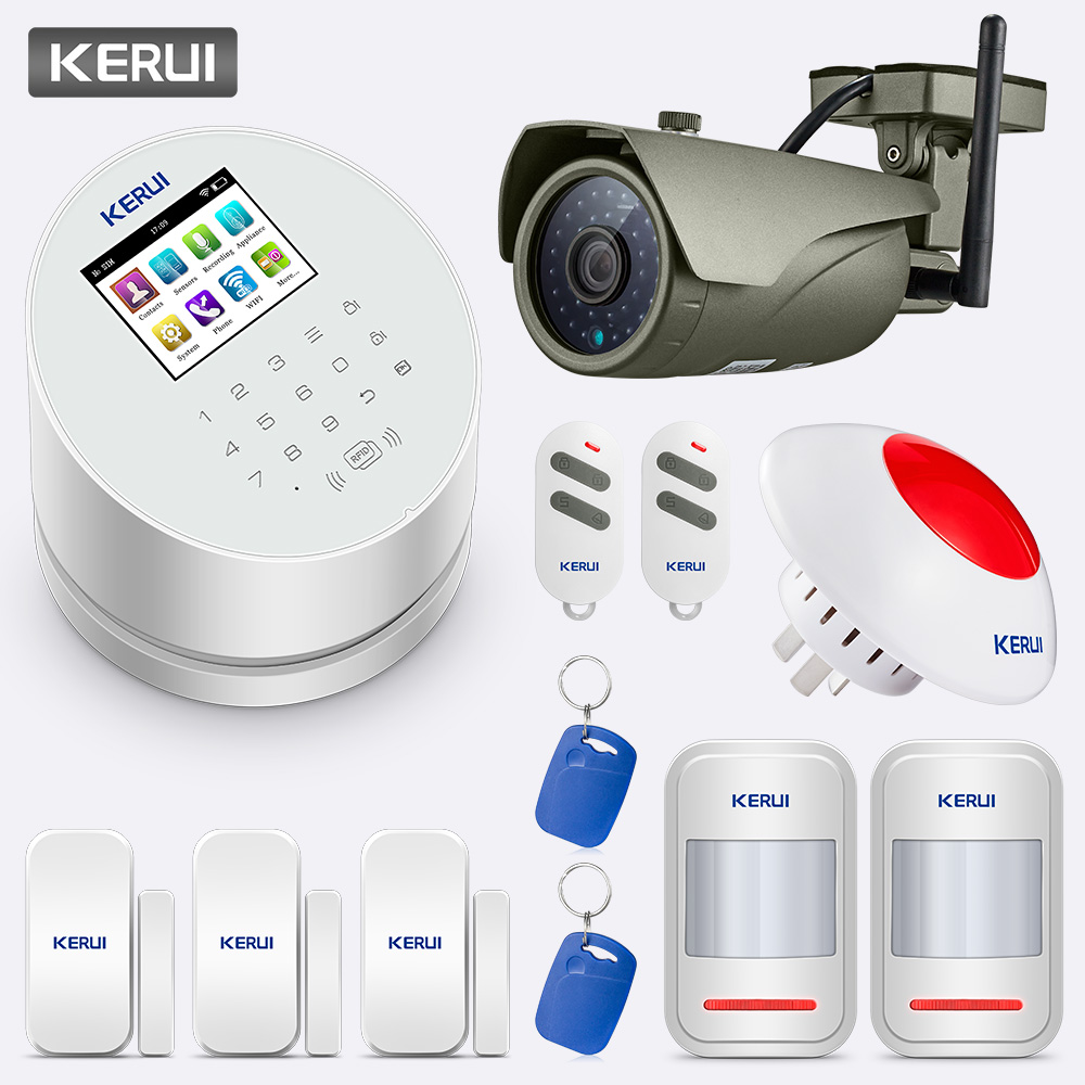 KERUI 2.4 Inch Screen APP Control Wireless Home Security WiFi GSM PSTN Alarm System With Outdoor Waterproof 1080P HD Camera Kit