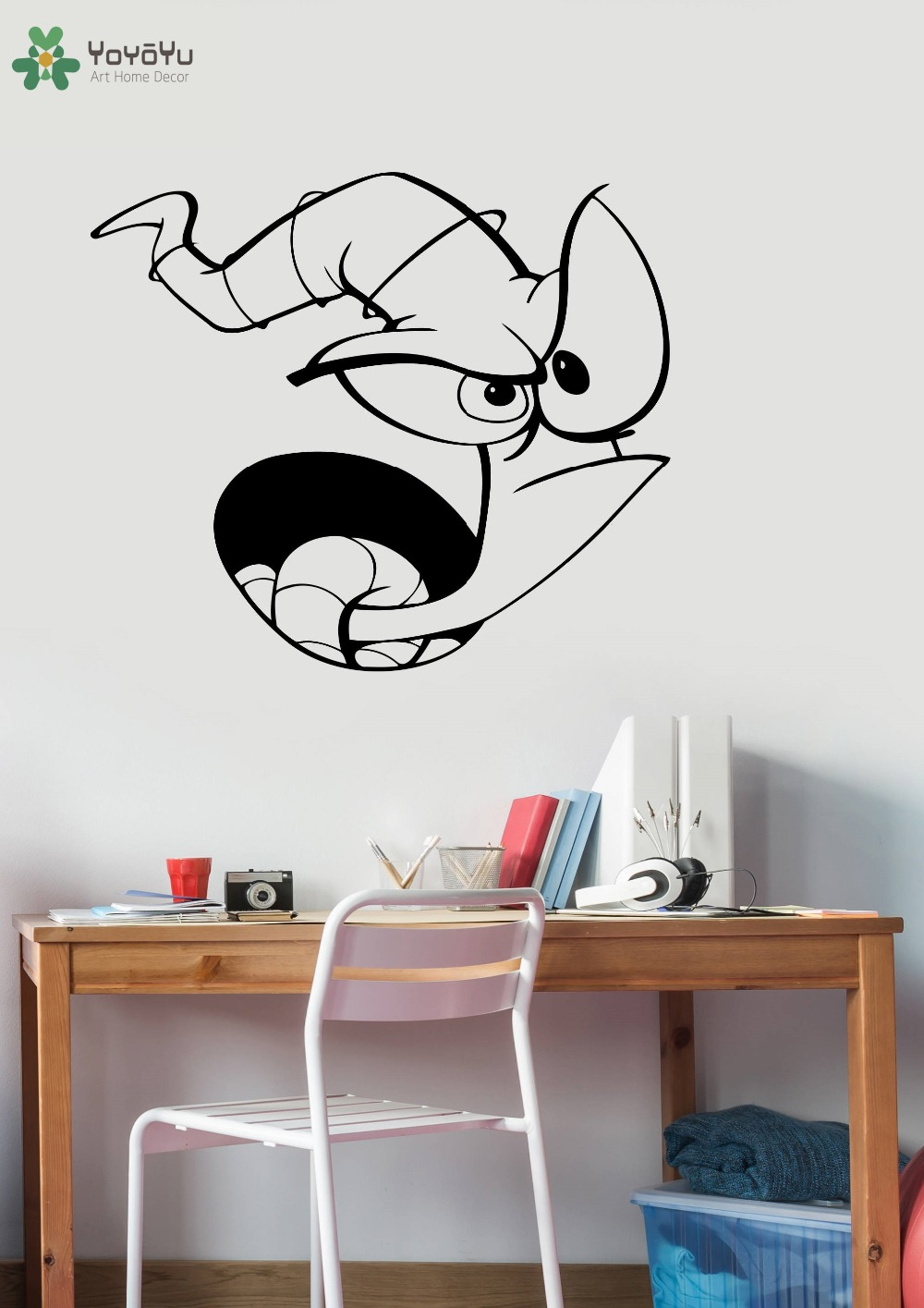 Cartoon Earthworm Wall Decal Jim Comic Vinyl Wall Stickers For Kids Rooms Baby Bedroom Art Decoration Gift Game Home Decor SY462