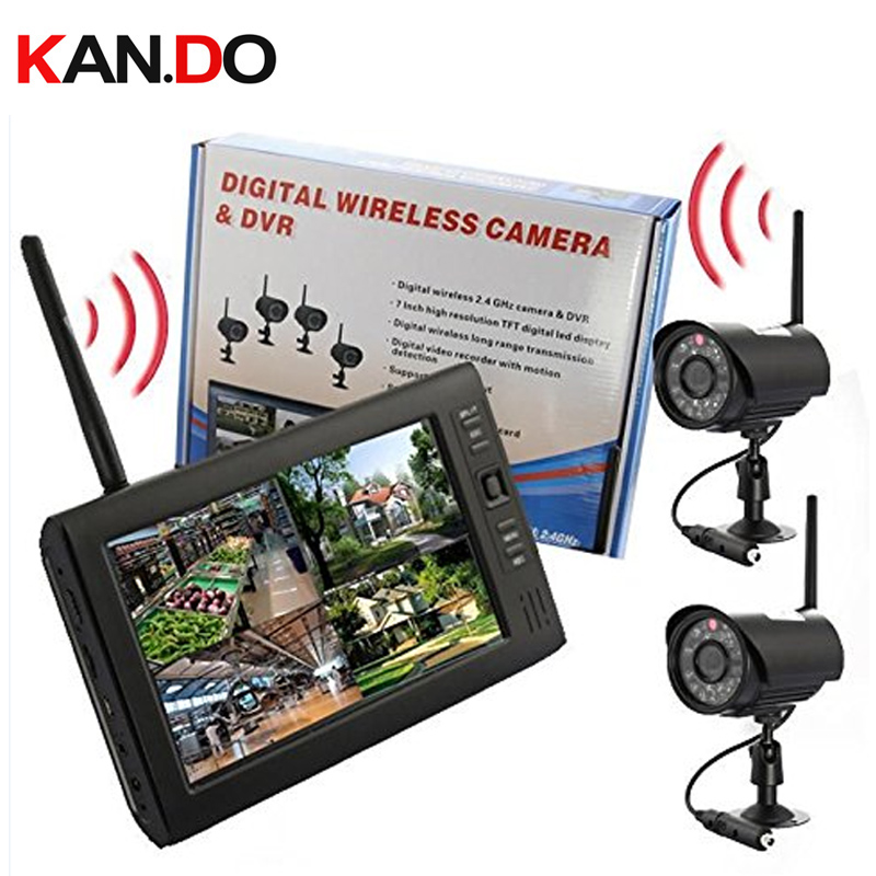 record function 2.4G receive+2 cameras 7 inch LCD Monitor 2.4G Wireless Receiver CCTV Camera CCTV receiver baby monitor