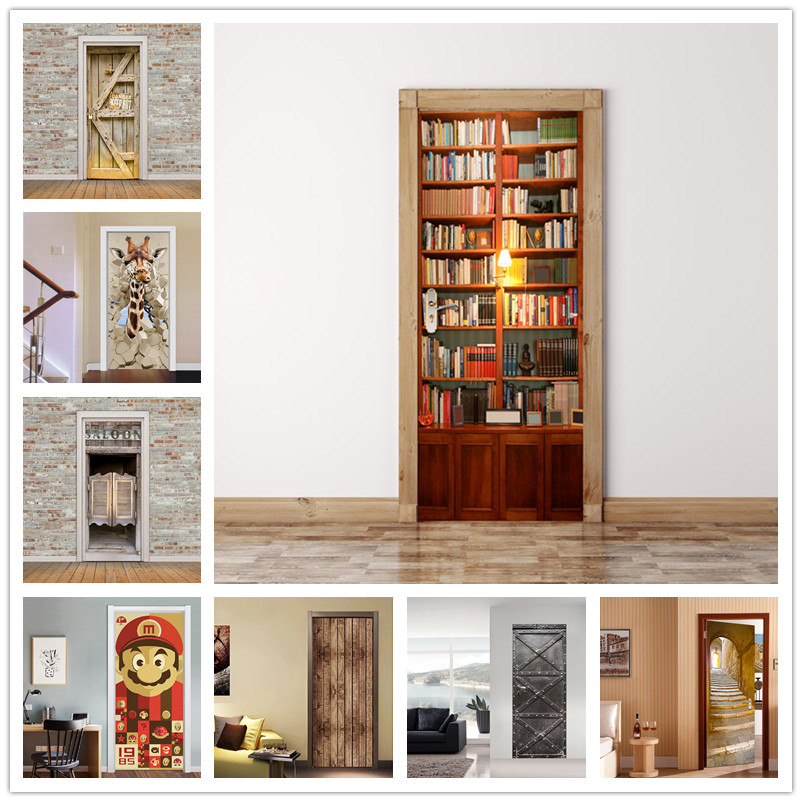 77x200cm Library Stickers on the Doorl Self Adhesive Stickers For Door Peel and Stick Wallpaper DIY