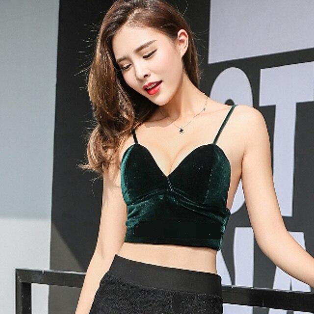 8cd68cc46e5 Velvet Soft Triangle Bralet Longline Triangle Bralette Outfit Choker Crop  Top Elegant Bra Cami Ladies lingerie