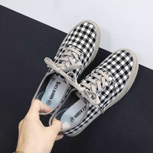 Basket Femme 2019 British Style Plaid Canvas Shoes Women Flats Low Top Lace Up Casual Fashion Sneakers Chaussure