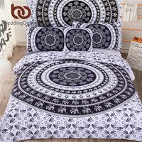 BeddingOutlet 5pcs Bed in a Bag Bedding Set Black and White Decorative Bedspreads Indian Elephant Print Duvet Cover Set