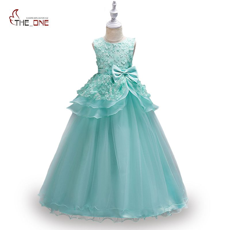 MUABABY Big Girls Party Dress Sleeveless Flower Princess Birthday Dress up Costume Kids Girl Pageant Wedding Ball Gown Clothing ball gown sky blue open back with long train ruffles tiered crystals flower girl dress party birthday evening party pageant gown
