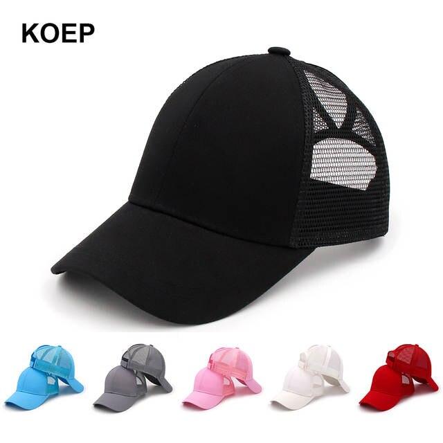 590f8fd3 US $4.88 25% OFF KOEP 2019 Fashion Ponytail Baseball Cap Snapback Messy Bun  Caps For Women Female Summer Mesh Trucker Hat Girl Hip Hop Hats-in ...