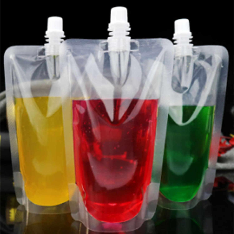 100 Pcs Stand-Up Plastic Drink Bag Spout Pouch For Beverage Liquid Juice Milk Coffee Nozzle Bag Beverage Mouth Bag