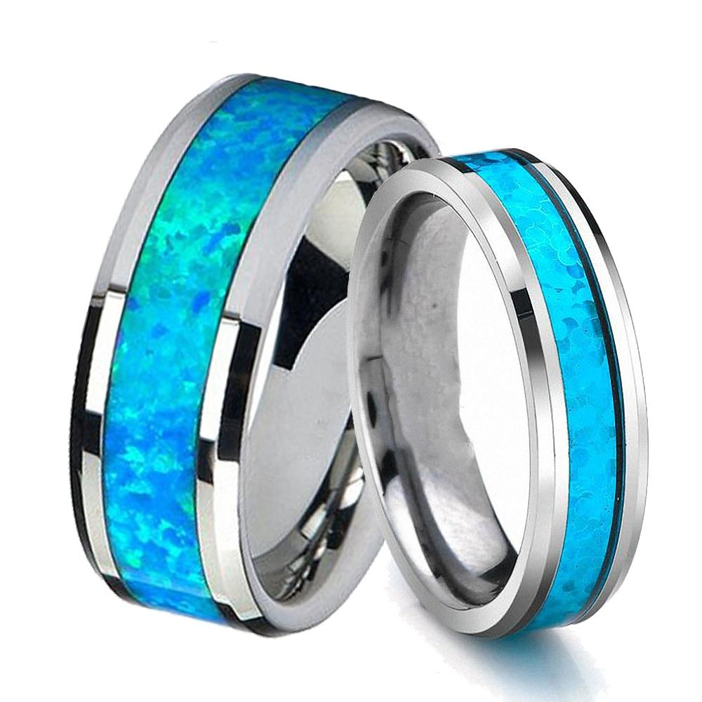 Queenwish Mens Wedding Bands Silver Infinity Blue Opal Tungsten Carbide Rings Women Engagement Jewellery Rings
